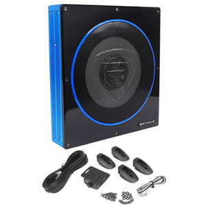 Rockville RW10CA 10 inch 800 Watt Slim Low Profile Active Powered Car Subwoofer Sub
